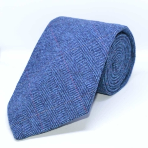 Blue Classic Herringbone Tweed Tie