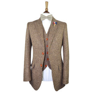 Brown Traditional Woodhouse Birdseye Tweed Suit