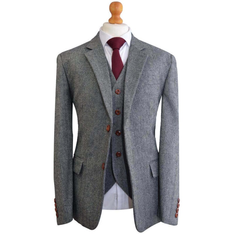 Grey Tweed Suit Brown Shoes