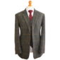 Gentlemen's Green Overcheck Plaid 3 Piece Tweed Suit