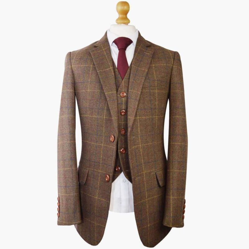 Gentlemen's Brown Overcheck Plaid Tweed Suit