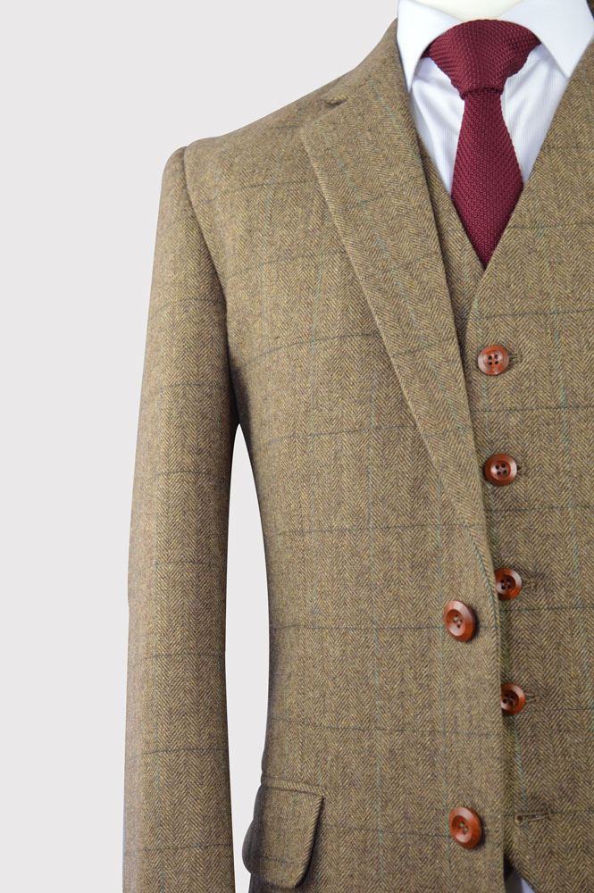 Brown Herringbone Tweed Plaid Suit