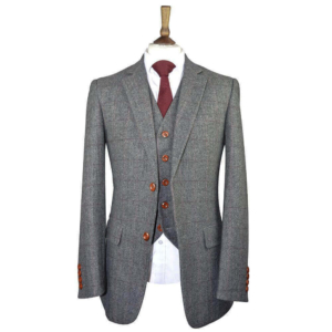 British Classic Grey Herringbone Plaid Tweed Suit