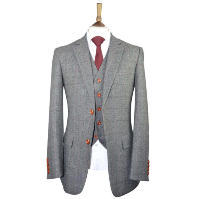 British Classic Grey Herringbone Tweed Suit