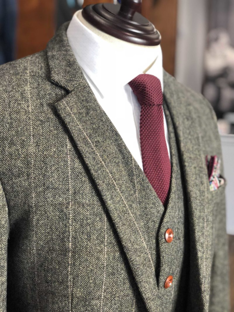 Army Green Herringbone Striped Tweed Suit