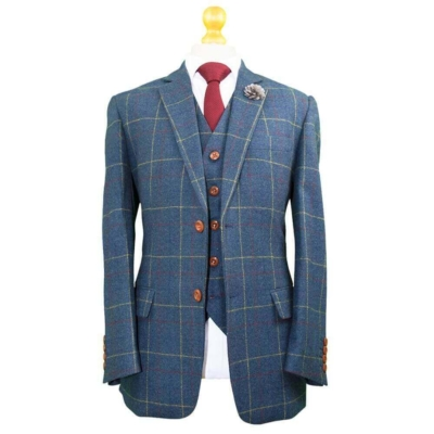 Gentlemen's Blue Overcheck Tweed Suit