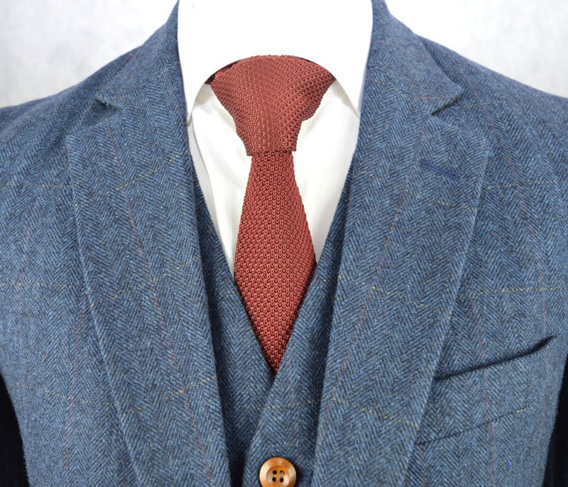 Blue Classic Herringbone Plaid Tweed Suit Jennis Amp Warmann
