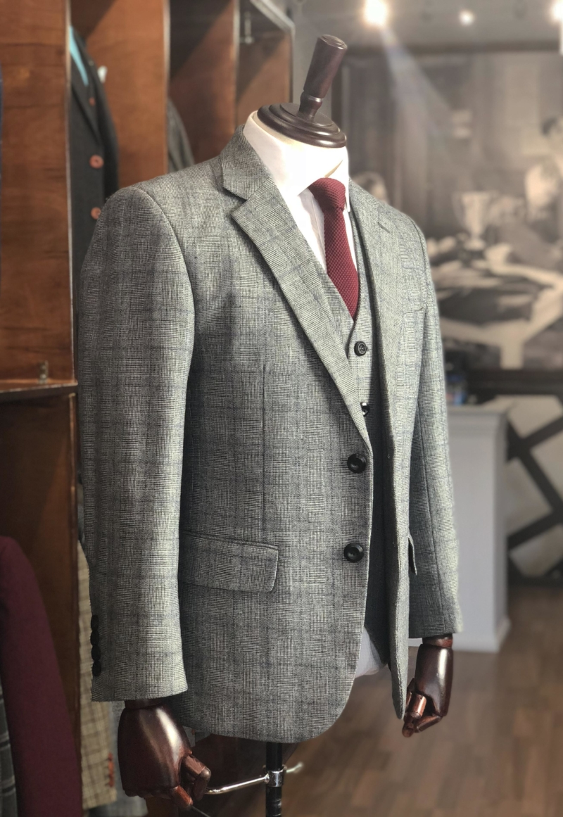 Classic Grey Prince of Wales Overcheck Tweed Suit