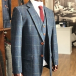 Gentlemen's Blue Overcheck Plaid Tweed Suit