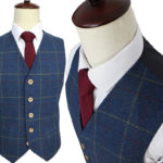 Classic Blue Herringbone Plaid Tweed Suit