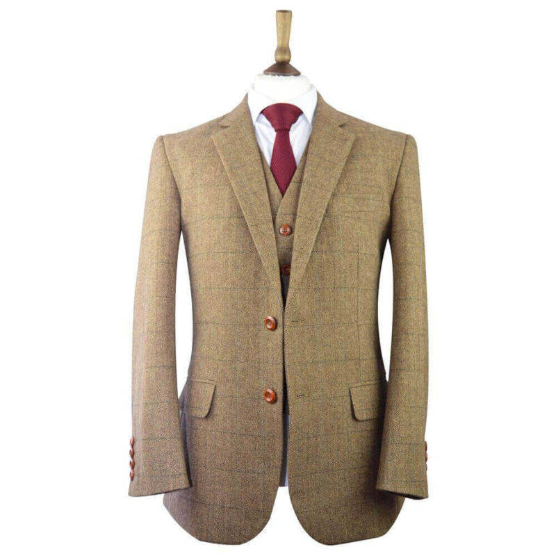 Classic Beige Brown Herringbone Plaid Tweed Suit