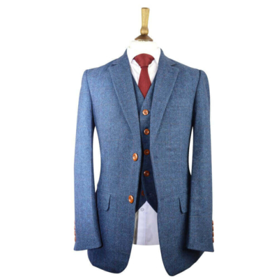 Blue Classic Herringbone Plaid Tweed Suit