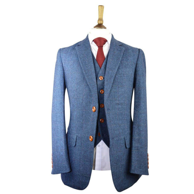 Blue Classic Herringbone Tweed Suit