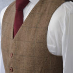 Classic Brown Herringbone Plaid Tweed Suit