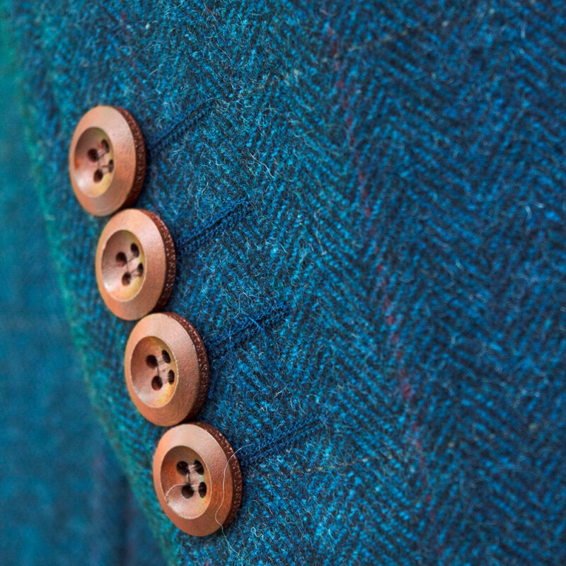 Blue Classic Herringbone Tweed