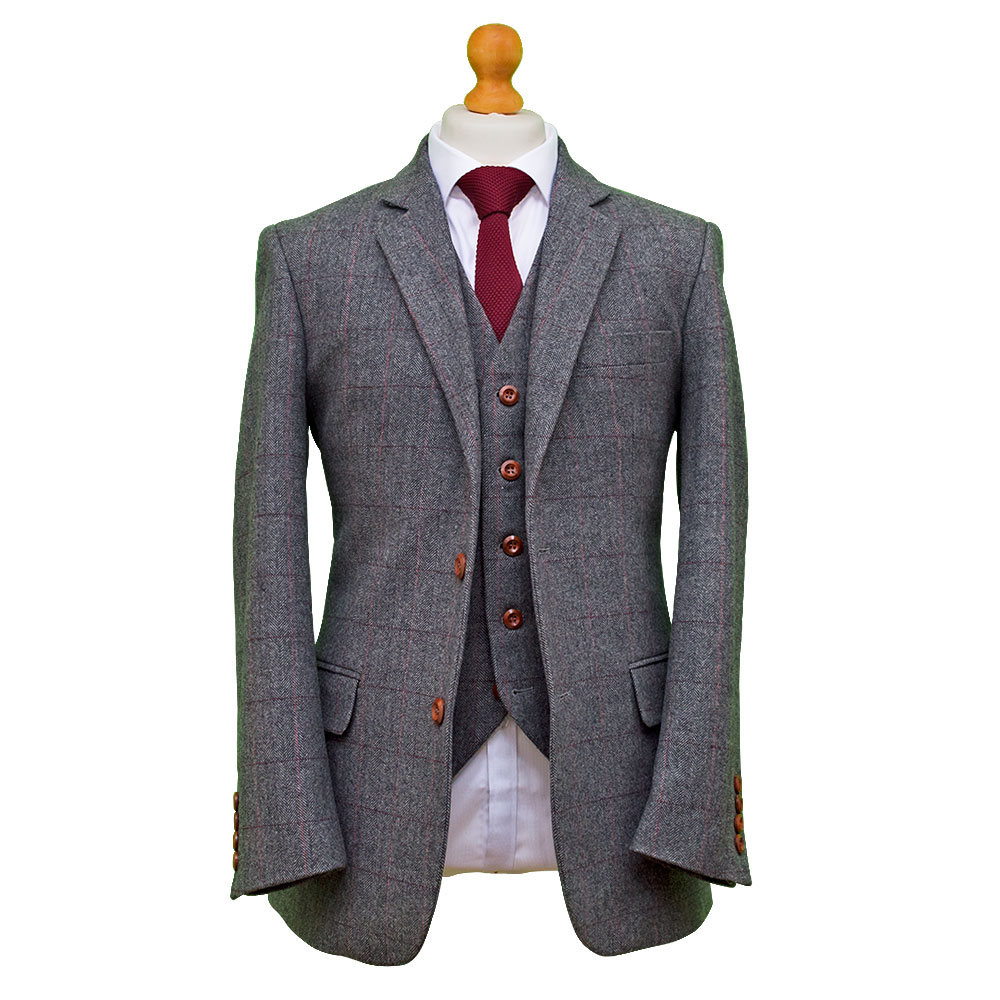 British Classic Grey Herringbone Tweed