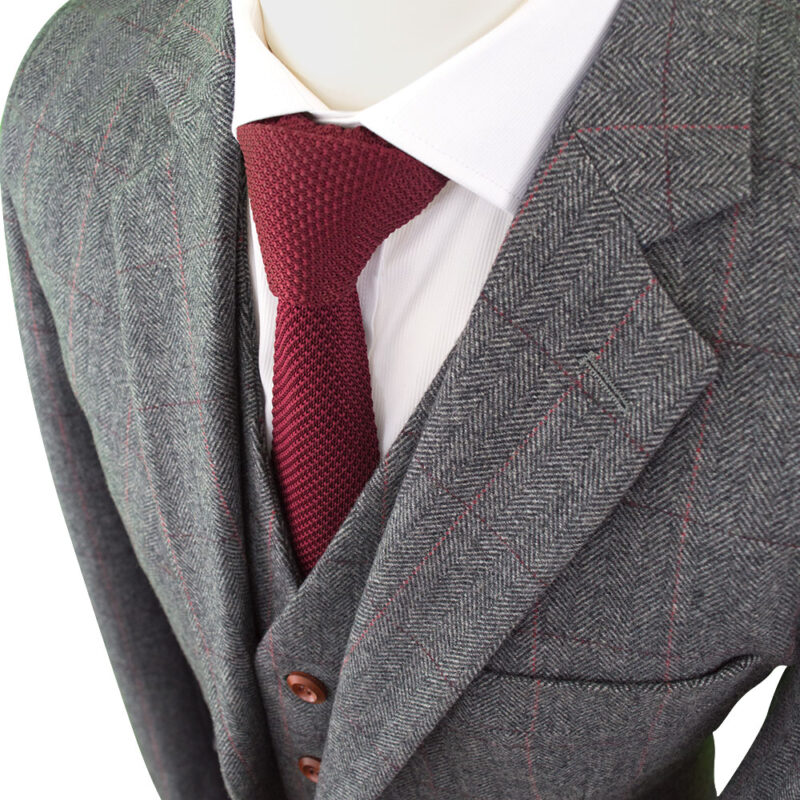 British Classic Grey Herringbone Plaid Tweed Suit J Amp W