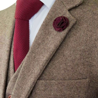 Men's Brown Classic Barleycorn Suit
