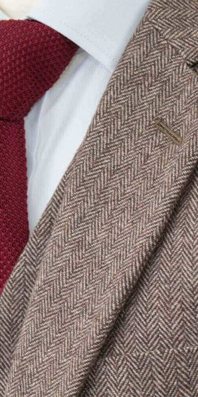 Brown Classic Herringbone Tweed Suit