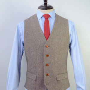 Brown Classic Barleycorn Tweed Suit