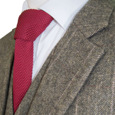 Dark Green Herringbone Tweed Suit