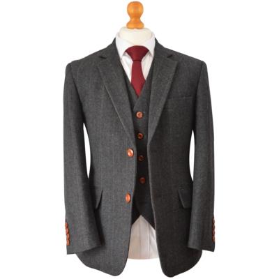 Charcoal Herringbone Striped Tweed Suit