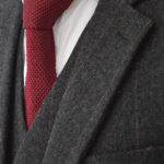 Charcoal Grey Herringbone Striped Tweed