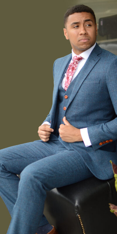 blue tweed suit