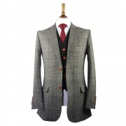 Grey Prince of Wales Check Tweed Suit