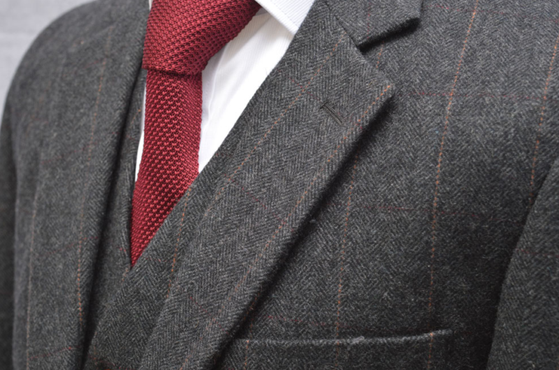 Charcoal Striped Herringbone Tweed Suit