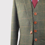 Autumn Green Windowpane Tweed Suit