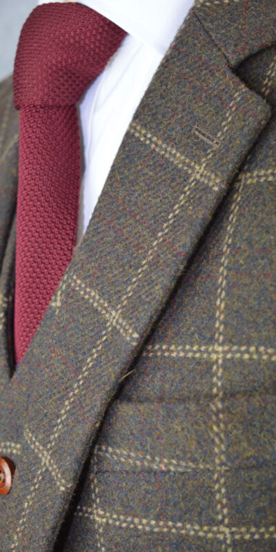 Mocha Brown Windowpane Tweed Suit