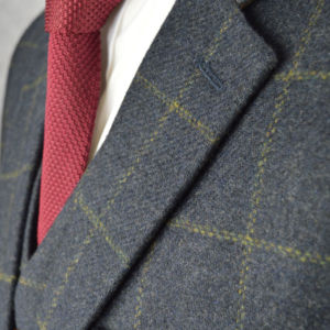 Dark Navy Windowpane Tweed