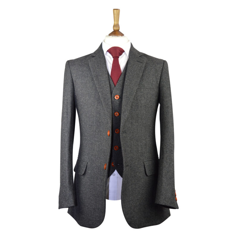 Classic Charcoal Herringbone Tweed