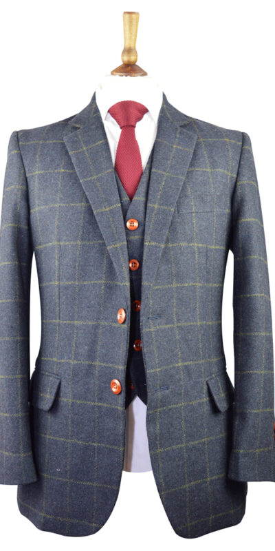 Dark Navy Windowpane Tweed Suit