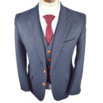 Classic Navy Herringbone Tweed Suit