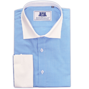 Blue Houndstooth Contrast Collar Shirt
