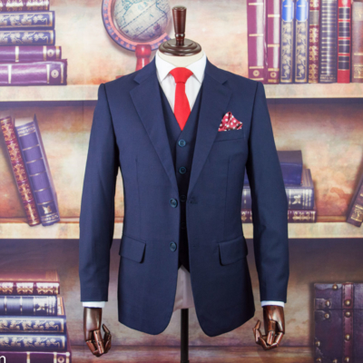Birdseye Navy Merino Worsted Wool Suit
