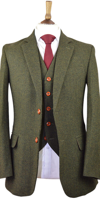 Classic Green Herringbone Tweed Suit