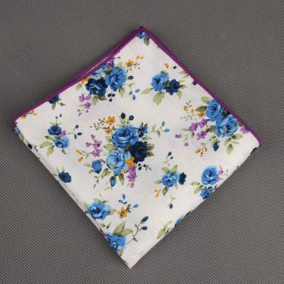 White Floral Printed Cotton Pocket Square