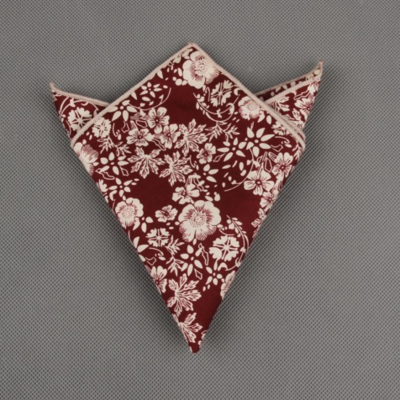 Burgundy Floral Printed Cotton Pocket Square