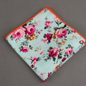 Green Floral Printed Cotton Pocket Square
