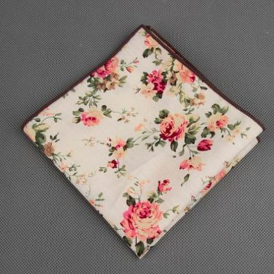 Magnolia Floral Printed Cotton Pocket Square