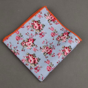 Aqua Floral Printed Cotton Pocket Square