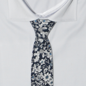 Navy Floral Cotton Printed Tie