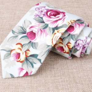 Rose Petal Green Floral Cotton Tie