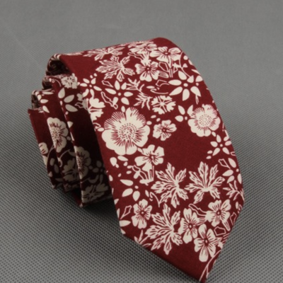 Burgundy Floral Cotton Printed Tie