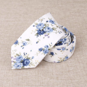 White Victorian Floral Cotton Tie