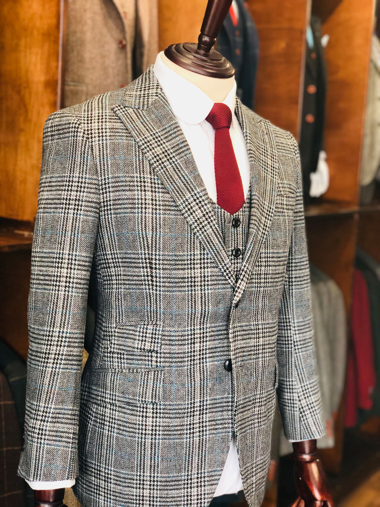 Royal Victoria Estate Overcheck Tweed Suit