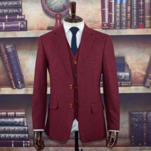 Beijing Red Barleycorn Tweed Suit